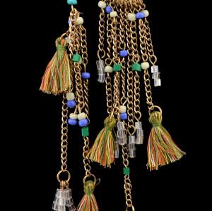 E-3603 bohemian retro style gold plated rope crystal Asymmetry long tassel dangle earrings