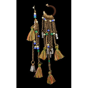 E-3603 bohemian retro style gold plated rope crystal Asymmetry long tassel dangle earrings
