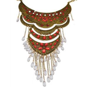 N-5841 European style silver gold plated rhinestone cross flower shape glass crystal drop beads tassel choker bib necklace