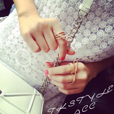 R-1268 New Fashion Gold Plated 2 pcs Shiny Knot  Finger Ring One Set For Women Jewelry