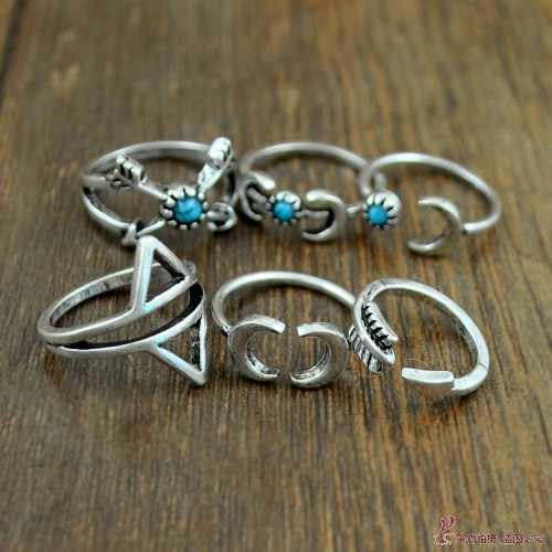 R-1273  6 Pcs/set New Fashion Bohemian Style Silver Plated Design 6 Types Natural Turquoise Moon Shape Nail Rings for Women jewelry