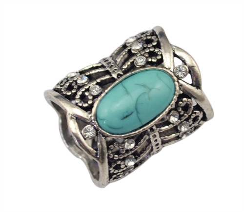 P-0205  Vintage style hollow out flower rhinestone turquoise natural stone scarf pin brooch for women