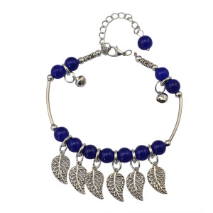 B-0612  New fashion korea style silver plated metal leaves blue resin beads charm bracelets for women jewelry