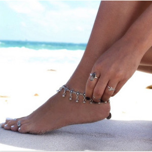 B-0611 Gypsy Bohemian Vintage Silver Flowers Chain Anklet Bracelets Beads Tassel Foot Chain Women's Jewelry