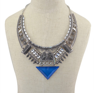 N-5847 New Brand Blue Black Crystal Statement Necklace Fashion Jewelry Vintage Silver Triangle Large Necklace & Pendant Women