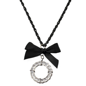 N-5845 European fashion gun black plated bowknot circle pendants necklaces long sweater chains necklace women's jewelry