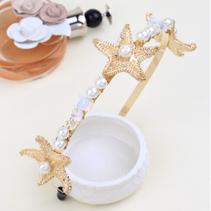 F-0289  New Fashion Trends European Korea Pearl Crystal Gold Plated Crown