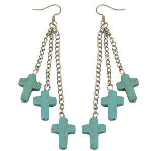 E-3609   Bohemian Ethnic Blue Turquoise Earring Vintage Long Cross Earrings for Women