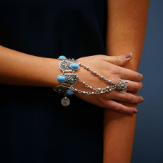 B-0616  Bohemian Boho Retro Silver Plated Inlay Blue Resin Beads Coin Pendant Hand Chain Ring Bracelet For Women