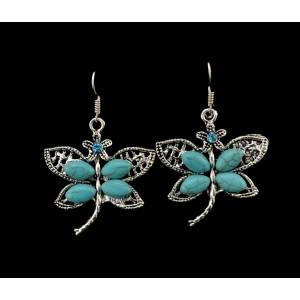 E-3608  Bohemian Style Vintage Silver Plated Turquoise Stone Butterfly Dangle Earrings for Women Jewelry