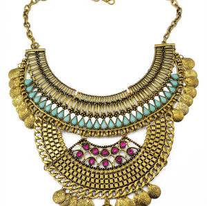 N-5854 New Fashion Bohemia Style Vintage Silver/Gold Plated Moon Shape Resin Charm Crystal Bib Statement Necklace For Women Jewelry