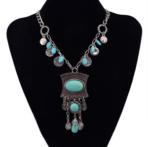 N-5853  Bohemian Fashion Trendy Carved Vintage Flower Natural Turquoise Drop Beads Pendant Sweater Chain Women Jewelry