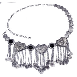 N-5859  Gypsy Bohemian Boho Vintage Silver Plated Inlay Acrylic Beads Coin Tassel  Waist Belly  Dance Body Chain Women Jewelry