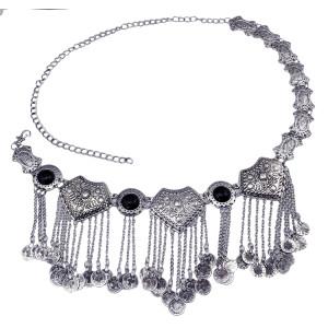 N-5859  Gypsy Bohemian Boho Vintage Silver Plated Inlay Acrylic Beads Coin Tassel  Waist Belly  Dance Body Chain Women Jewelry