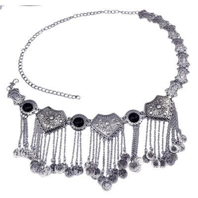 N-5859 *  Gypsy Bohemian Boho Vintage Silver Plated Inlay Acrylic Beads Coin Tassel  Waist Belly  Dance Body Chain Women Jewelry