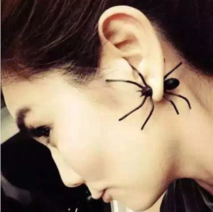 E-3613  1 PC New Fashion European Style Black Spider Stud Earrings For Women