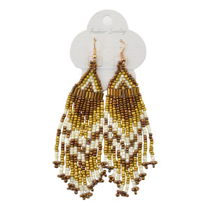 E-3617  Vintage gold blue stone bohemian style mix 5 colors handmade resin seed bead statement earrings