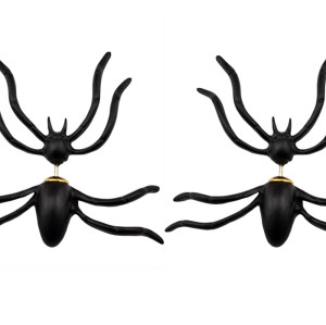 E-3612 1 Pair New Fashion European Style Black Spider Stud Earrings For Women