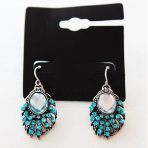 E-3615 New arrival silver plated blue rhinestone eyelashes lovely dangle earrings for party accessories