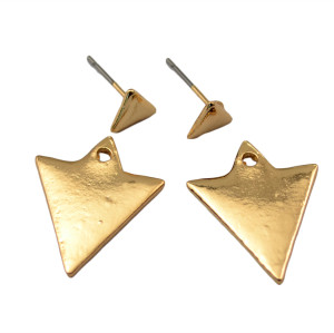 E-3621  Korea style gold plated triangle shape double side lovely stud earrings for women