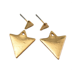 E-3621  Korea style gold plated triangle shape double side lovely stud earrings for women