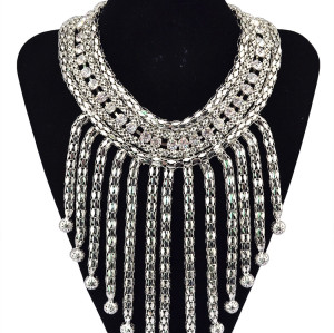 N-5174 European Style Gold Wide Facted Clearly Stone Chunky Statement Metal Tassel Ball collar Bib Luxury Necklace