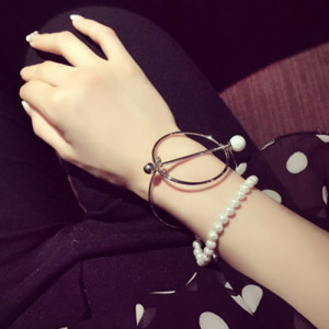 B-0620  New Fashion Korea Style Silver Plated Simulated Pearl Chain Bracelet For Women Jewelry