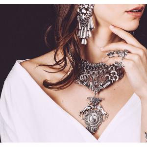 N-5860 Bohemian Gipsy Style Fashion Women Fine Jewelry Luxury Crystal Flower Bib Collar Statement Necklace And Earrings Set