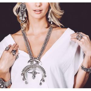N-5861 Fashion Luxury Wedding Bride Rhinestone Crystal Statement Necklace and Earrings Sets