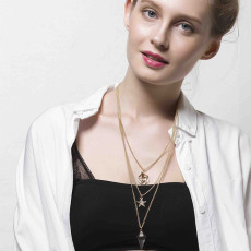 N-5863  New Fashion European Style Silver/Gold Plated Multilayer Chain Stars Charm Super Transparent Crystal Pendant Necklace For Women