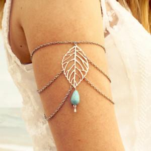B-0626  Summer Elegant Gold Leaf Turquoise Bead Tassel Chain Upper Armband Bracelet Jewelry For Women