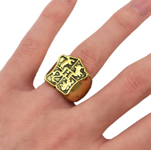 R-1279   Vintage Style Ethnic Retro Carved Totem Pattern Flower Finger Ring