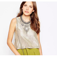N-5659 European style silver gold plated chunky chain bell crystal rivet tassel statement bib necklace