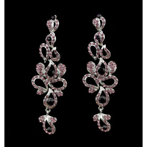 E-3619  New luxury silver plated 4 colors charm rhinestone crystal flower long earrings large dangle earrings for brides wedding jewelry