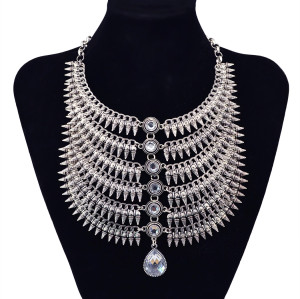 N-5869  New Arrival Silver Plated Multilayer Rivets Tassel Inaly Crystal Pendant Choker Necklace  For Women