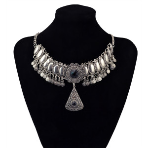 N-5871  New Fashion Silver/Gold Plated Charms Rhinestone Resin Carved Flowers Bib Statement Pendant Necklaces for Women