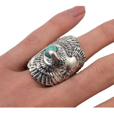 R-1278   Unisex New Fashion Tibetan Style Silver Plated Natural Turquoise Swallow  Cocktail Finger Ring Adjustable