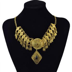 N-5878  Unique Vintage Gold/Silver Jewelry Bohemia Black Acrylic Beads Leaf Tassel Width Geometric Shape Choker Necklace For Women