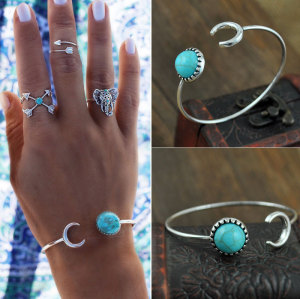 B-0623 Antique Silver Plated Bangles Bohemian Moon Bracelets Bangles Turquoise Ethnic Boho Gypsy Cuff Bangles for Women