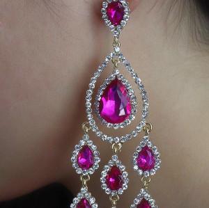 E-3631 New luxury silver plated 5 colors charm rhinestone crystal flower Tassel earrings Long  bridal wedding jewelry earrings