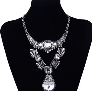 N-5880 bohemian style silver plated carving flower large crystal pendant necklace jewelry