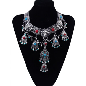 N-5881 Bohemian vintage colorful gem stone lion head choker statement necklace flower metal drops bell charms necklaces & pendants women jewelry