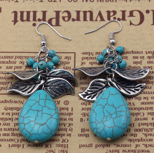 E-3625 bohemian style silver plated leafs large natural turquoise stone pendant dangle earrings