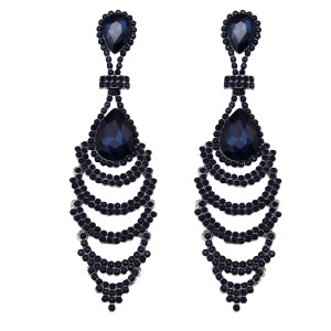 E-3626 New Fashion Silver Plated Charm Crystal Rhinestone Long Drop Earrings for Bridal Wedding Accessories
