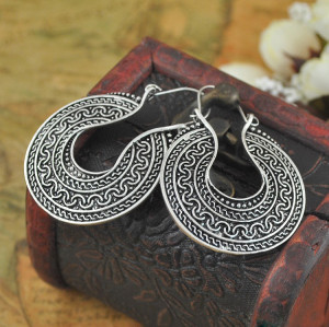 E-3628 Bohemian style retro silver plated carving flower incomplete metal shape dangle earrings