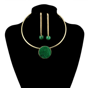 N-5892  European style gold plated hoop chain punk big round green blue white stone charms choker bib collar necklace and earrings set