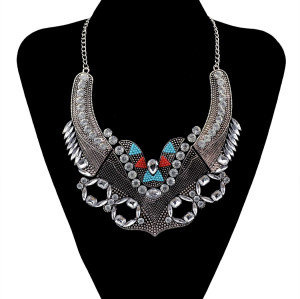 N-5887  New Fashion Silver Plated Charms Crystal Resin  Flowers Bib Statement Pendant Necklaces for Women