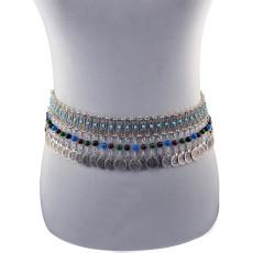 N-5893  Bohemian boho vintage belt carved flower resin beads coin tassel pendant waist dance body chain jewelry