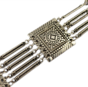 N-5895  Tribal bohemian boho body jewelry silver bronze plated 5 layers pattern vintage flower belly dance belt chain waist jewelry