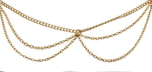 F-0296   European style gold plated head chain cool metal tassels  headband hair jewelry